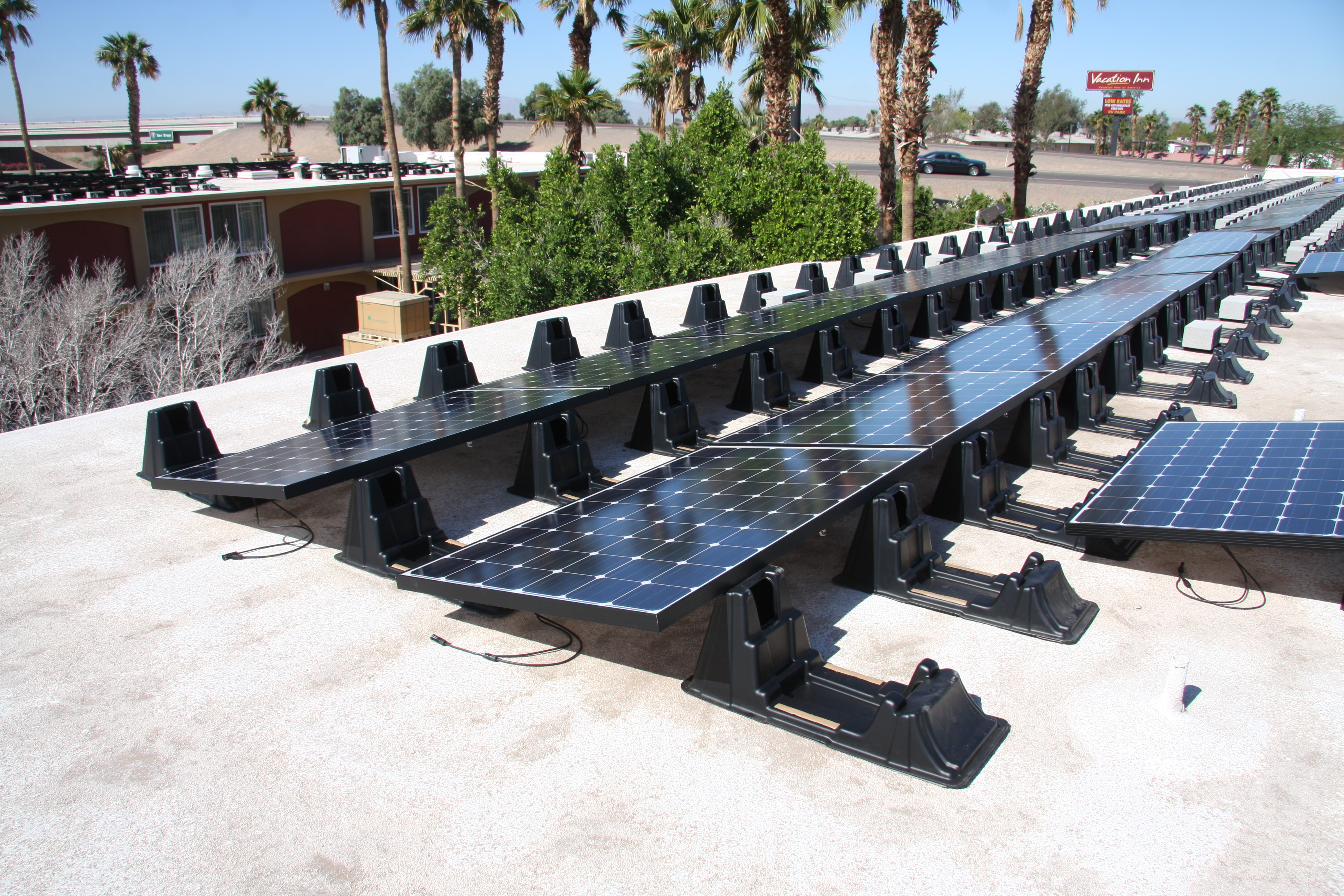 solar ground pv roof mount flat panel ballasted hardware