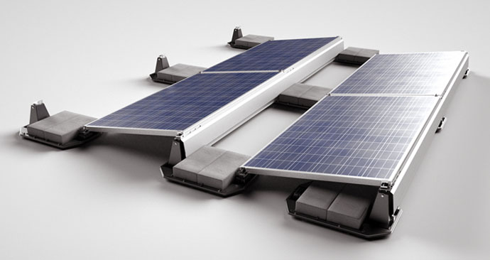 Products > PV Solar Panel Flat Roof Mount & Ground Mount (Ballasted)