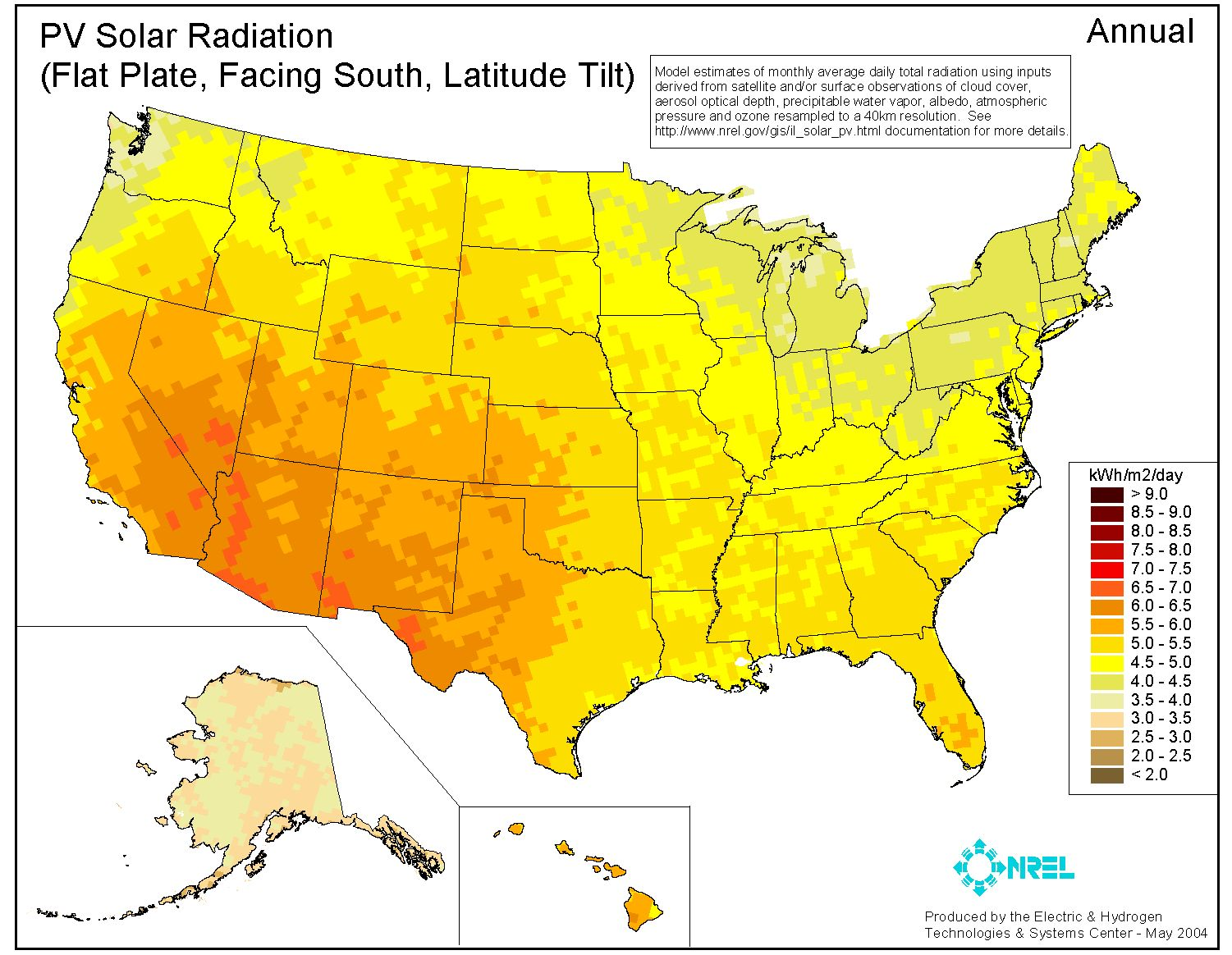 Solar Insolation Chart Solar Insolation Data Average USA - Solar power map us